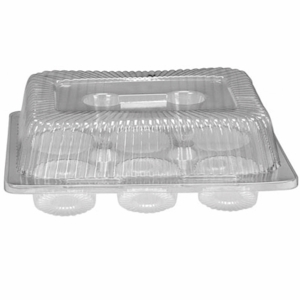 BL556 6 Count Hinged 3 12 High Dome Lid Clear Plastic Cupcake